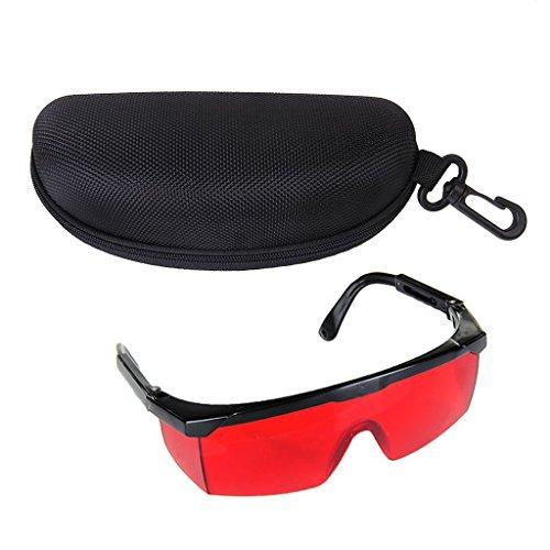 V Laser Eye Goggles | Safety Glasses with Red Tinted Lens to Protect from Ray Exposure up to 532nm | Sturdy Polycarbonate Lightweight and Large Frame for Industrial Military Medical | Red Black | 1491