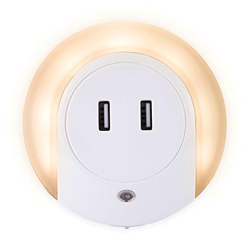 XUANYI ELECTRONIC Led Night Light with USB Charger, Dusk to Dawn Sensor Plug in Night Light, 5V 2A Dual USB Wall Charger Bedside Lamp, Plug-in Wall Nights
