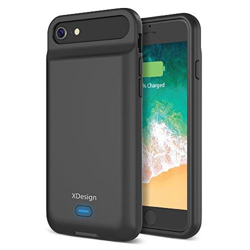 [Upgraded] XDesign iPhone 8 7 6S 6 Battery Case, 3000mAH Lightning Port Apple iPhone 8/7/6S/6 Battery Case Portable Backup Battery Power Bank Protective Travel Charger Case [Black]