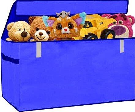 XXL Chest Organizer Box Flip-Top LID Jumbo Organizer Collapsible Cloth Baskets Foldable Large Nursery Bins Gifts Storage Cubes Laundry Space Saver for Ofiice Bedroom Playroom , Blue, PRORIGHTY