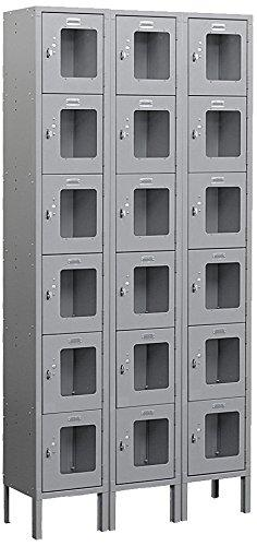 Salsbury Industries S-66362GY-U Six Tier Box Style 36-Inch Wide 6-Feet High 12-Inch Deep Unassembled See Through Metal Locker, Gray