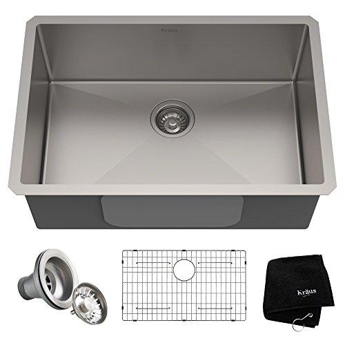 KRAUS 28-inch Standart PRO 16 Gauge Undermount Single Bowl Stainless Steel Kitchen Sink, KHU100-28