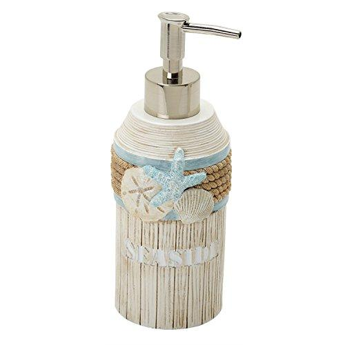 Zenna Home, India Ink Seaside Serenity Lotion or Soap Dispenser, Coastal/Beach