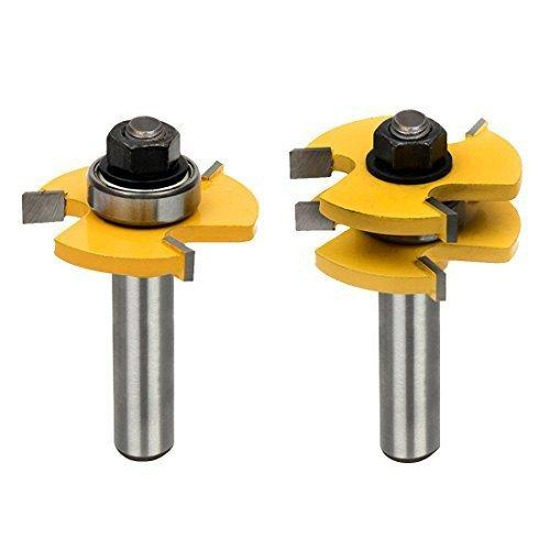 Tongue and Groove Set,Router Bit Set,Wood Door Flooring 3 Teeth Adjustable,1/2 Inch Shank T Shape Wood Milling Cutter Woodworking Tool (2Pcs)