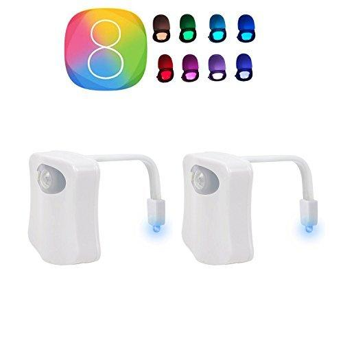 TWO PREMIUM Toilet Lights Sensor Motion Activated Glow Toilet Bowl Light Up Sensing Toilet Seat Night Light Inside Bathroom Washroom 8 Color Set of 2 (8 Colors)