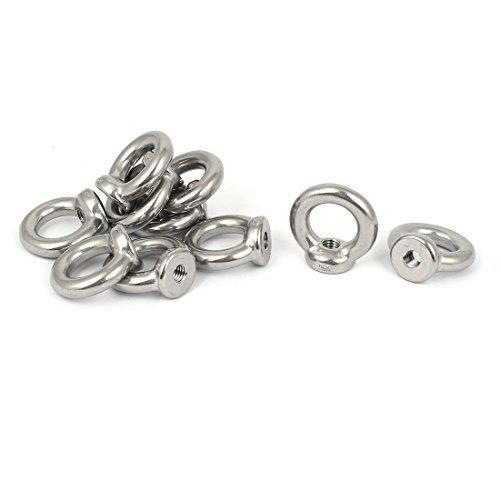 DealMux M8 Female Thread Stainless Steel Lifting Eye Nuts Ring 10 Pcs