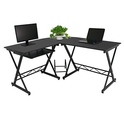 ZENY 3-Piece L-Shaped Large Corner Computer Desk PC Laptop Table Workstation Home Office w/ Metal Frame, Storage Shelf (Black)