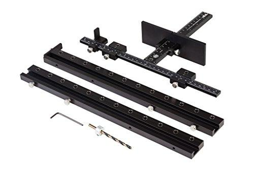True Position Tools TP-1935 Cabinet Hardware Jig for Professional Installation of Handles and Knobs on Doors and Drawer Fronts. + Attachments for Large Handles AND Shelf Pin Holes! MADE IN USA