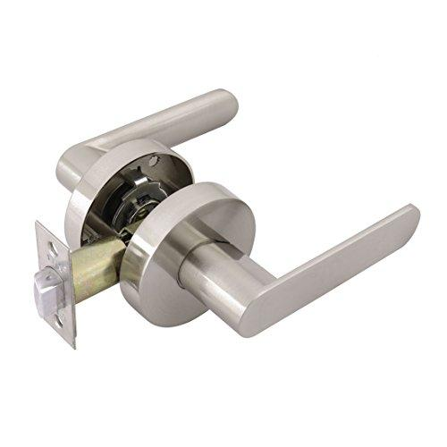 uxcell Passage Door Lever Lock Set Knob Keyless Handle for Hallway Doors or Closets, Satin Nickel Finish, Reversible for Right or Left Side