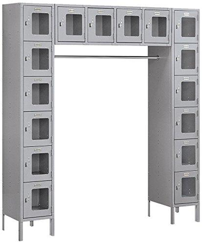 Salsbury Industries S-66016GY-U Six Tier Box Style Bridge 16 Box 18-Inch Deep Unassembled See Through Metal Locker, Gray