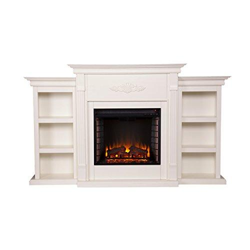 Tennyson Electric Fireplace w/ Bookcases - Ivory
