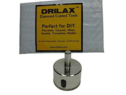 "Drilax 1 3/4 Inch Diamond Hole Saw Drill Bit Tiles, Glass, Fish Tanks, Marble, Granite Countertop, Ceramic, Porcelain, Coated Core Bits Holesaw DIY Kitchen, Bathroom, Shower, Faucet Installation Size 1 3/4"" Inches"