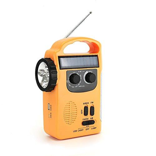 Zoostliss Emergency Weather Solar Hand Crank Self Powered Radio with LED Flashlight iphone Smart Phone Chager