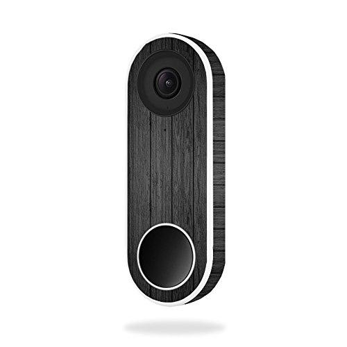 MightySkins Skin For Nest Hello Video Doorbell - Black Wood | Protective, Durable, and Unique Vinyl Decal wrap cover | Easy To Apply, Remove, and Change Styles | Made in the USA