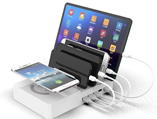ZYJ-AWASA 6 in 1 Multi Desktop Qi Wireless Charging Station Multiple Charger Dock Organizer Stand with 5 USB Ports for iPhone X/8/8 Plus/7/Plus Ipad Samsung Galaxy Note8 S9 S8plus , 45W (White)