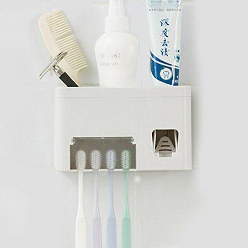 Toothpaste Dispenser Toothbrush Holder Set, Toothpaste Squeezer Tooth Brush Holder Set Holder With Anti-dust Cover, 3-in-1 Wall Mounted Holders with 1 Storage Grids Bathroom Accessories Kids Hand
