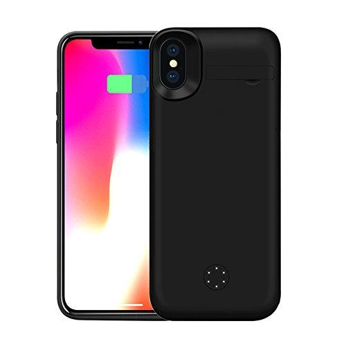 on sale b4a22 bdba2 ZTESY iPhone X Battery Case, iPhone X 5000mAh Capacity Support Lightning  Port Headphones Portable Charger Case Extended Battery Pack Charging Case  ...