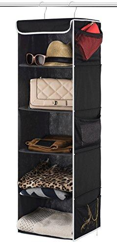 "ZOBER 5-Shelf Hanging Closet Organizer - 6 Side Mesh Pockets Breathable Polypropylene Hanging Shelves - for Clothes Storage and Accessories, 12"" x 11 ½"" x 42"" (Black)"