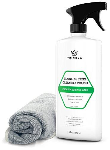 Stainless Steel Cleaner and Polish for Commercial Refrigerators with Microfiber Cleaning Cloth. Cleaning Spray for Appliances, Fridge, Microwave Oven, Kitchen. 16oz TriNova