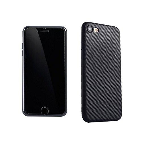 [2 Pack] iPhone 6S Plus/6 Plus Case Screen Protector Tempered Glass+Carbon Fiber Textured Case,FANSONG [Light Thin] Anti-slip Back Cover Shell Cases for Apple iPhone 6S Plus/6 Plus(Black)
