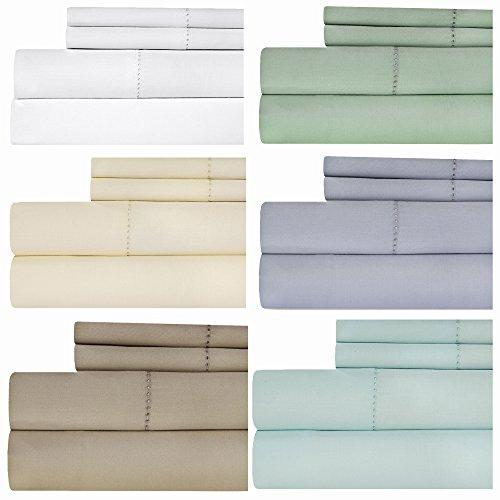 Weavely Hemstitch Bedsheet 500 Thread Count 100% Cotton Queen Sheet Set, 4-Piece Bedding Set, Elastic Deep Pocket Fitted Sheet, White