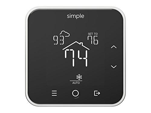 The Simple Thermostat, Energy Star Wi-Fi Smart Thermostat With Mobile App, 7 Day Schedule, Works with Amazon Alexa (Black)