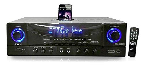 Home Audio Power Amplifier System - 500W 4 Channel Theater Power Stereo Receiver Box, Surround Sound w/USB, RCA, AUX, MIC w/Echo, LED, Remote - For Speaker, iPhone, PA - Pyle PT4601AIU
