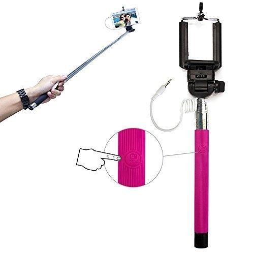 Xtra-Funky Exclusive Universal Push Button Operated Monopod Selfie Stick with Adjustable Clamp and Extendable Pole for Samsung, iPhone, Sony, Nokia & many more! - Pink