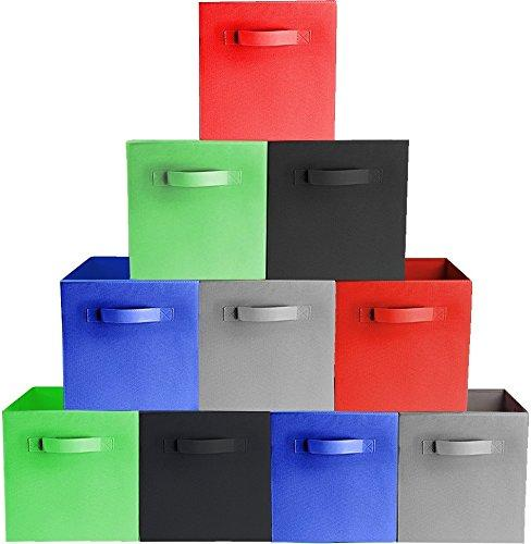 [10-Pack, 5 Colors] TOP QUALITY Durable Foldable Storage Cubes For Shelves, Baskets, Bins, Containers, Home Decorative Closet, Organizer Household, Fabric Cloth ,Collapsible Box, Toys Storages Drawer