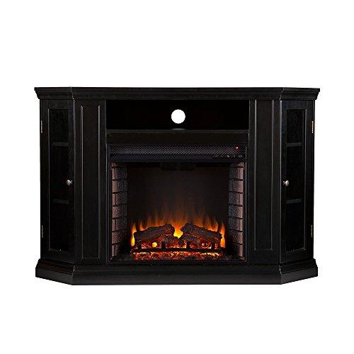 TV Stand Electric Fireplace Media Console With Remote Thermostat Black Finish