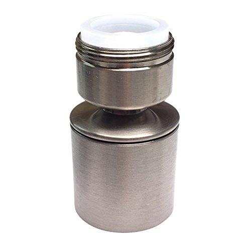 Waternymph Hibbent Dual-function 2-Flow Kitchen Sink Sprayer Aerator, Water Saving Faucet Aerator Swivel with Double Sprayer Nozzle - 15/16 Inch - 27UNS Male Thread - Brushed Nickel