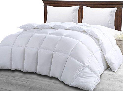 King Size Comforter - Solid Squared Duvet Insert White - Softer Than Goose Down Alternative Duvets - All Season Comforters