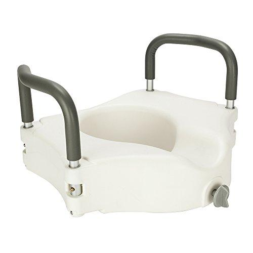 Medical Elevated Raised Toilet Seat with Removable Padded Arms and Locking Mechanism