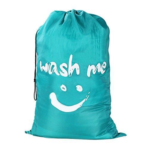 Wimaha Extra Large Laundry Bag Durable Handy Travel Fabric Polyester Storage Bag with Drawstring Cord Lock Closure for Blouse, Hosiery, Underwear, Delicates, Garment, Shirts, Stocking Socks, Teal