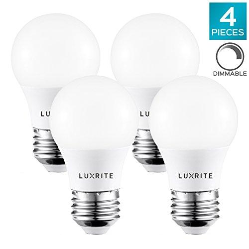 Luxrite A15 LED Light Bulb, 40W Equivalent, 5000K Daylight White, Dimmable, 450LM, Medium Base E26 LED Light Bulb, UL and Enclosed Fixture Rated - Perfect for Ceiling Fans and Home Lighting (4 Pack)