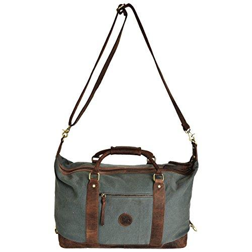404cab358c ... ESTALON Leather Overnight Duffle Bag Canvas Travel Tote Duffel Weekend  Bag Luggage (Brown Crazy Horse