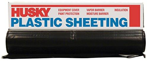 Husky CF0410-50B 4 ML Polyethylene Plastic Sheeting, 10' x 50', Black