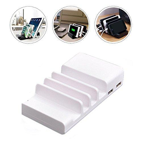 USB Charging Station 4 Port USB Desktop Cell Phone Docking Station Charging Stand Organizer Multiple USB Charger for Smartphones, iPad, Tablet and Other Gadgets (White)