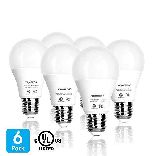 Tenergy 9W LED Light Bulb (60W Equivalent) A19 Household Bulbs, E26 Base 5000K 750LM Daylight LED Bulbs Non-Dimmable Indoor Lighting Lamps, 220 Degrees Beam Angle, 6-Pack