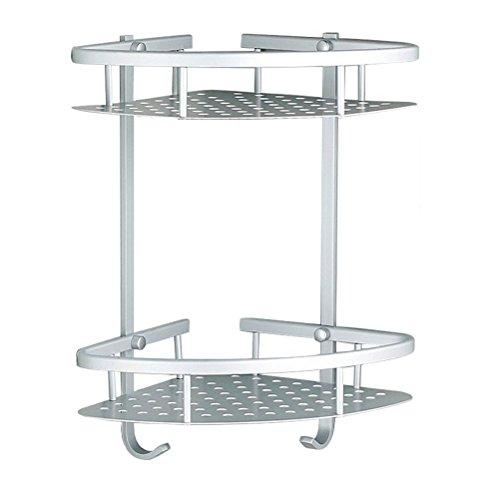 Sendida Bathroom Corner Shelf Rack - No Drilling, DIY, Super Strong Glue Adhering, SD173 Heavy Duty and Rustproof Aluminum 2 tiers Shower Storage Corner Shelves with Hooks
