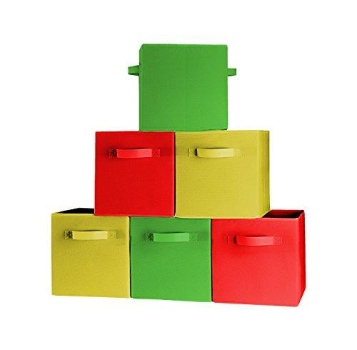 [6-Pack,3-Colors] Premium Quality Foldable Cloth Storage Bins For Shelves, Baskets, Cubes, Containers, Home Decorative Closet, Organizer Household, Fabric Cloth ,Collapsible Box, Toys Storages