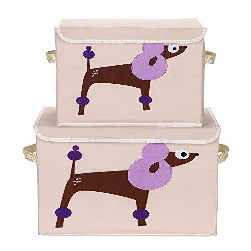VuHom Toy Chest Storage Bins Foldable Cube Box, Fabric Toy Storage Cubes For Kids Toy Laundry Set (1 SMALL+1 LARGE) (Poodle)