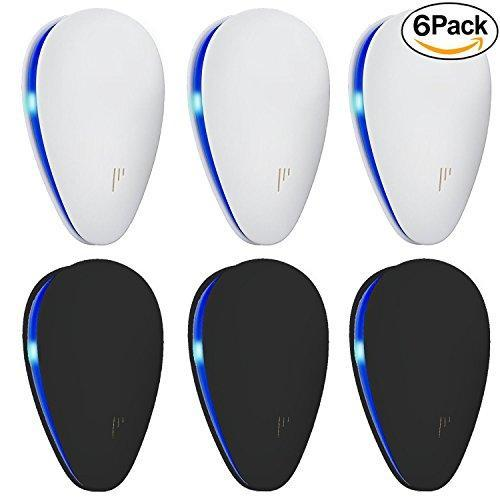 [UPGRADED] Ultrasonic Pest Repeller - BEST Pest Control 6-Pack with DOUBLE IMPACT - Plug-In Electronic Home Repellent Anti Mice, Ant, Roach, Mosquito, Outdoor/Indoor (6-Pack, Black/White)