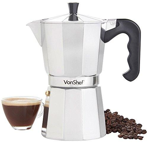 VonShef Italian Stovetop Moka Pot Espresso Coffee Maker, Chrome, 9 Espresso Cups