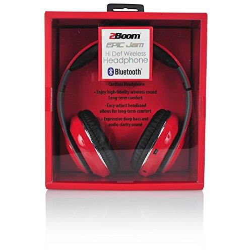 2BOOM Epic Jam Wireless Bluetooth Over Ear Headphones Bass Stereo Headset,  Red