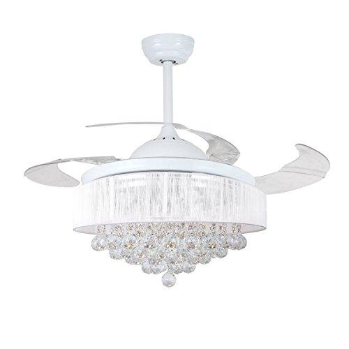 "Parrot Uncle Ceiling Fans with Lights 42"" Modern White Ceiling Fan Retractable Blades Crystal LED Chandelier Fan with Remote Control Fandelier, 4000K Cool White, Not Dimmable, 2 Down-rods Included"