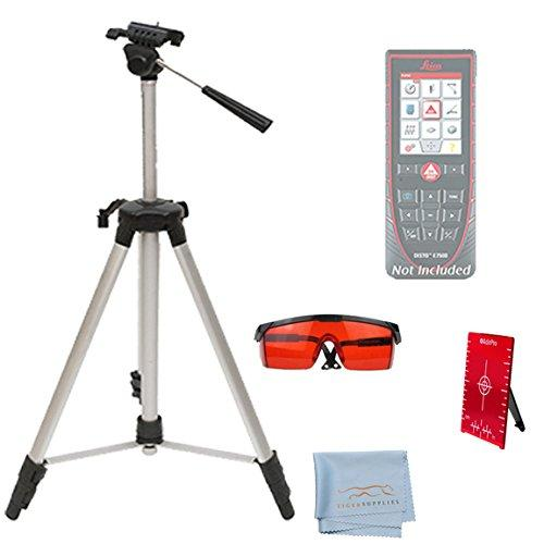 Leica E7500i Distance Measurer Accessory Kit, Includes: AdirPro Elevating Tripod - Red Laser Glasses - Magnetic Floor Target Plate with Stand - Micro Fiber Screen Cleaning Cloth