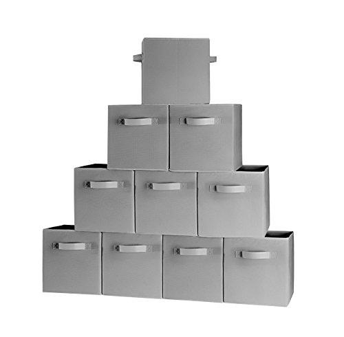 [10-Pack,Gray] Foldable Storage Cubes with Dual Handle Shelves Baskets Bins Containers Home Decorative Closet Two Handles Organizer Household Fabric Cloth Collapsible Box Toys Storages Drawer