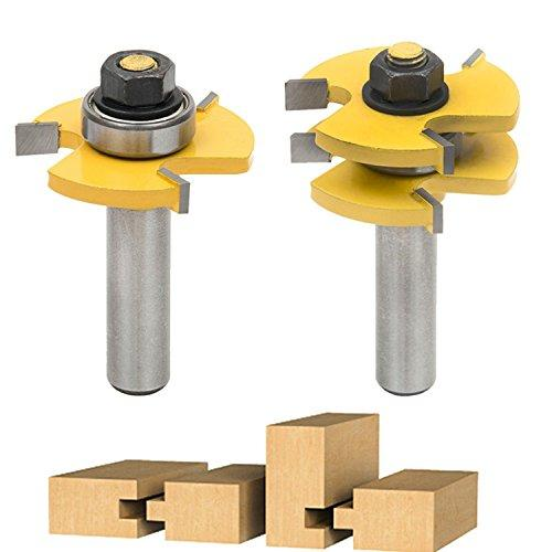 "Tongue & Groove Router Bit Set, Ankoow 2Pcs Grooving Router Bit Wood Door Flooring 3 Teeth Adjustable Tenon Cutter with 1/2"" Shank"