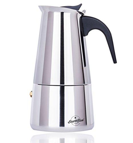 Stove Top Espresso Coffee Maker | Stainless Steel Moka Pot - 6 Cup | No Aluminum | Electric, Gas | Heat Resistant Handle | Home, Office, Camping, Portable Use by Bruno Rissi Caffe
